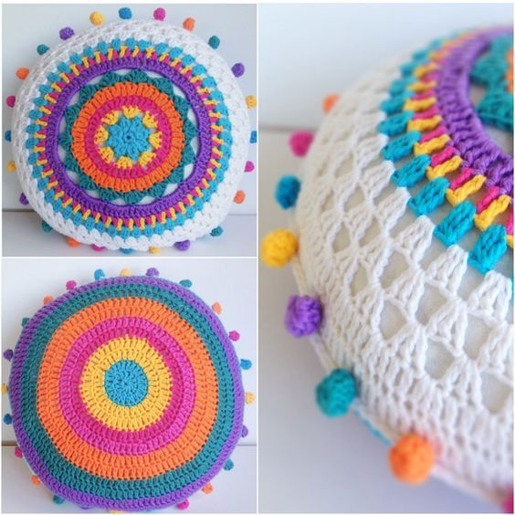 Ooo this is so bright and colourful! CARNIVALE CUSHION Another free crochet-a-long (CAL) pattern from Poppy & Bliss. This one is a beauty. Click through the links below to find out more about each step with a ton of pics. Enjoy! Part 1: Gather supplies Part 2 : Cushion front first half Part 3: Cushion front second half Part 4: Cushion back and blocking Part 5: Finishing off