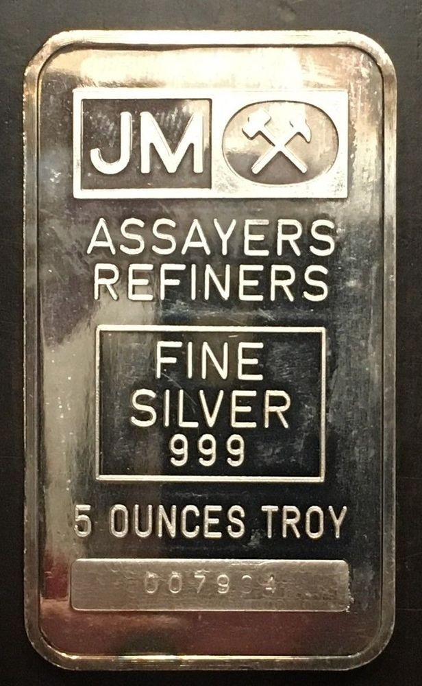johnson matthey 5 oz 999 silver bar with blank back serial 007904