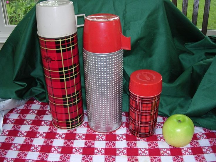 LOT OF 3 RETRO VINTAGE RED PLAID PICNIC LUNCH BOX THERMOS ALADDIN BOTTLES  #Thermos