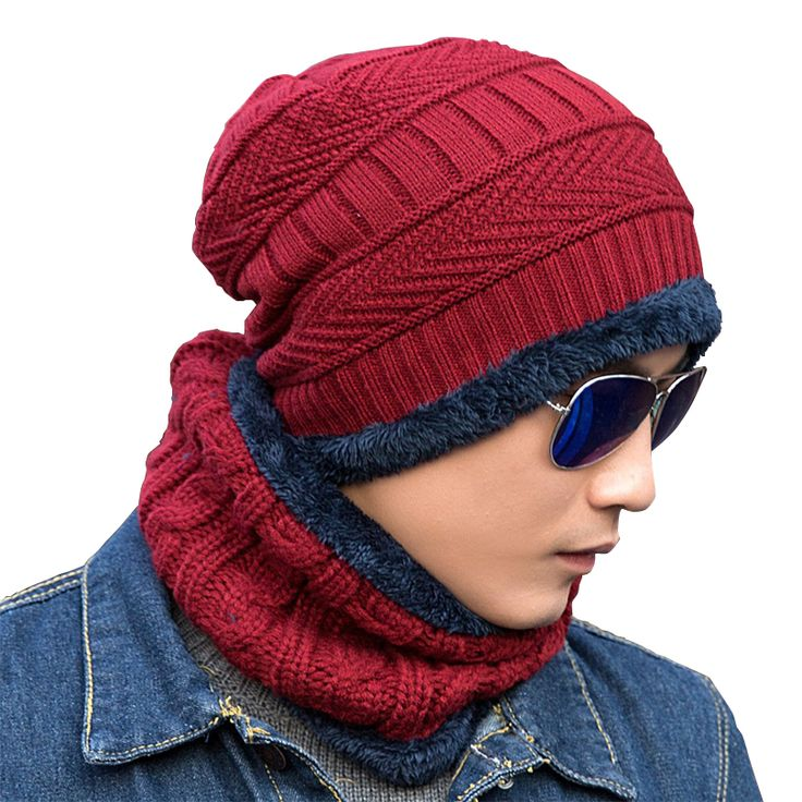 Unisex Skullies Knit Men's Winter Balaclava Bonnet Women Thicken Winter Hats For Men Beanie Warm Baggy Knitted Hat And Scarf