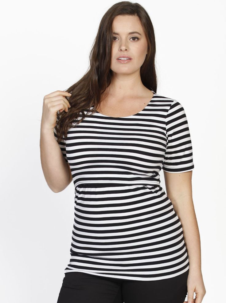 """Every office is different, but our """"Busy Mummy"""" Cotton Nursing Top in Black Stripes, $49.95, is sure to be a hit in every work place. Features an under layered nursing panel for easy breastfeeding access."""