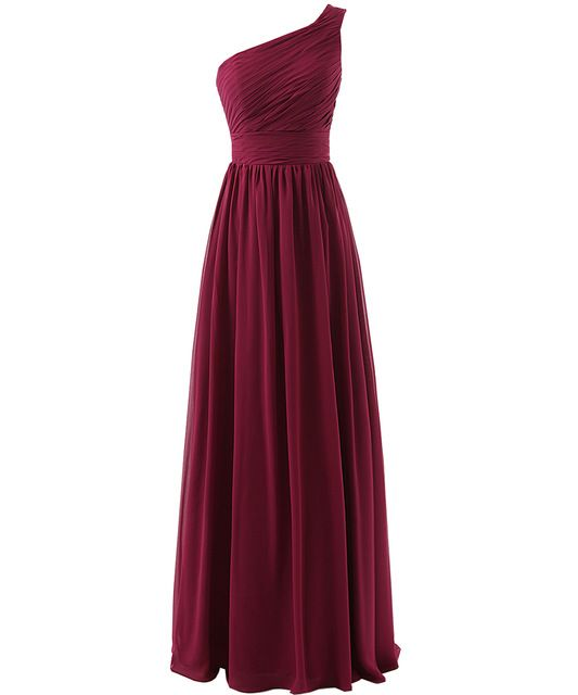 Beautiful Marsala Burgundy Bridesmaid Dress One Shoulder Chiffon Ruched Party Dress for Wedding A line Long Maid of Honor Dress