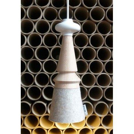 Marcel II, suspension éco design en bois et feutre, luminaire écologique made in France, Metylos.