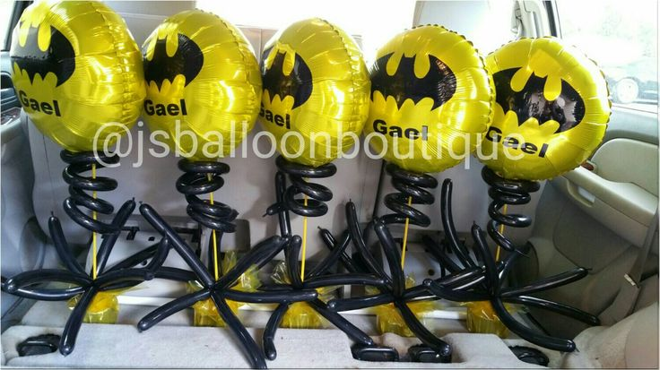 Personalized batman party centerpieces #balloons #personalized #batman #party #bday