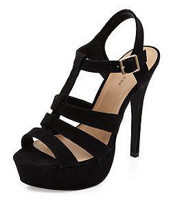 Sandales épaisses noires avec talons à plateforme effet cage | New Look