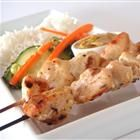 Easy chicken satay. To be frank, I often just dispense with the skewers. Chunk up the chicken, cook it in the skillet, serve with peanut sauce and rice.