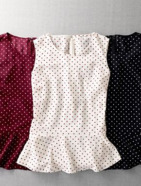 Polka-Dot Peplum Tops, just add lots of gold jewellery.
