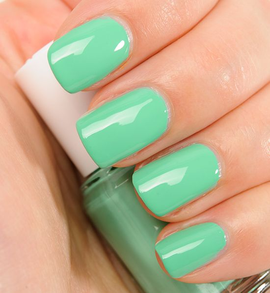 "Minty Green. By Essie in the shade ""First Timer"" I want this color so badly!!"