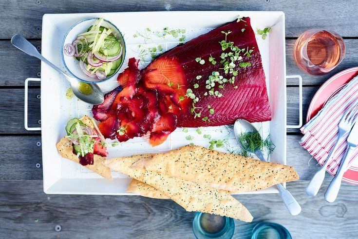 Beetroot cured salmon with cucumber and apple salad. Recipe by Rick Stein.
