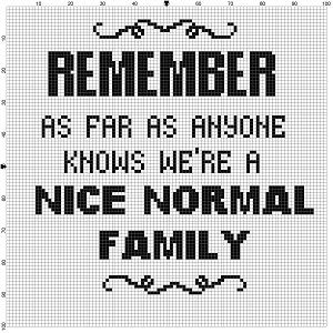 Is your family normal or are you one of those families.  Know a slightly off family? is it you? Admit it, it is you. Modern cross stitch pattern is designed on 14 count Aida. It will run a little less than 8x10 and will look awesome in an 8x10 frame or a larger frame with a matte. This pattern will come with 2 different sized full colour patterns, for printing or viewing convenience, and a handy little tips and tricks printout to help you in your quest for cross stitching awesomeness. I can…