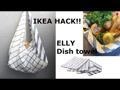 DIY IKEA HACK Reusable Shopping Tote イケアのフキンでエコバッグReciclaje de bolsas - YouTube