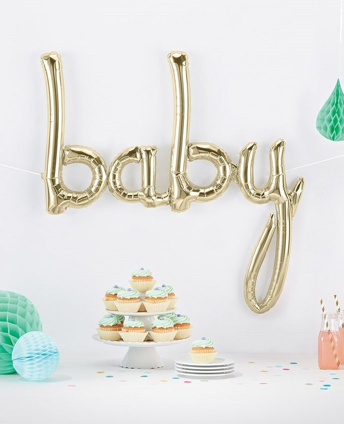 This gorgeous gold baby balloon would be the perfect addition to your baby shower decorations or 1st birthday party decorations.
