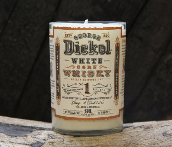 George Dickel Whiskey // Recycled Moonshine Bottle Soy Candle  Recycled, professionally cut, and sanded down…