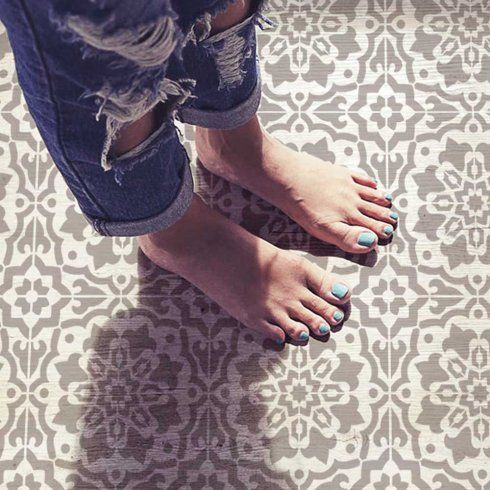 Amalfi Tile Stencil: buy it here for  $12 and cover up that hideous builder-grade tile!
