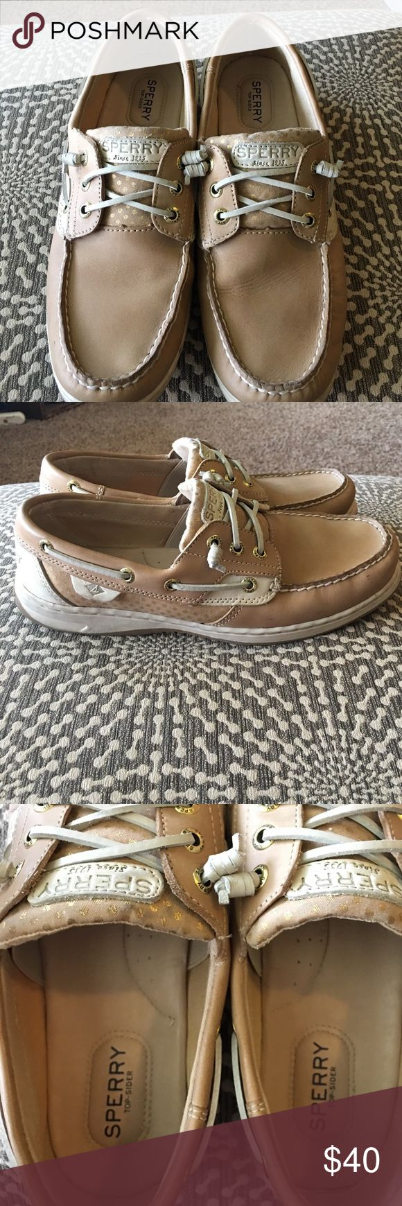 Ladies Sperry Topsiders, Size 9 These are so cute and comfy!! I have worn them, but show no big signs of wear and tear. I took an up close pic of the heals so you could see what I mean. Tons of life left. These are this years style. I have to slim down the closet! Smoke/pet free! *No box* Sperry Top-Sider Shoes Flats & Loafers