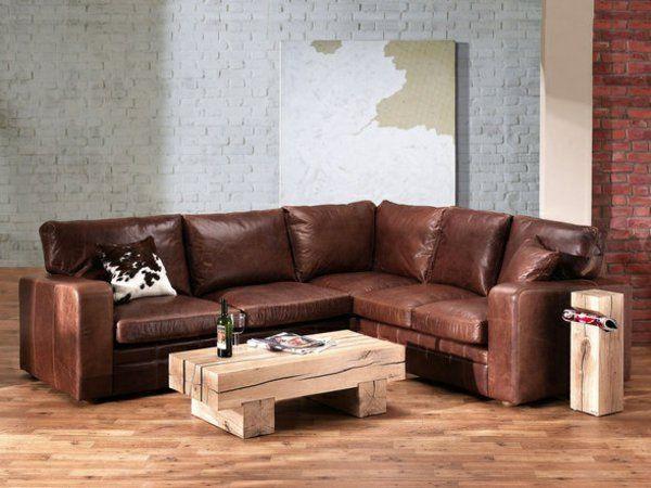 Eckcouch Aus Leder Wohnzimmer Tisch Holz