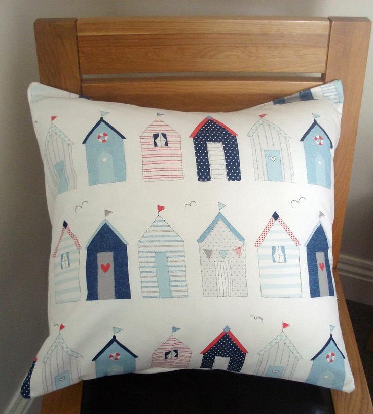 Beach huts seaside nautical blue red Cushion cover case sham  One 18 x 18 Throw pillow.