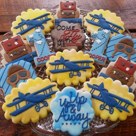 Vintage Airplane Cookies by TheTreatsbyTrishShop on Etsy