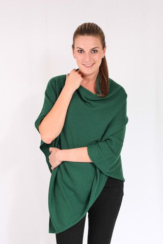 Bottle Green 100% Cashmere Poncho on sale online in South Africa – Pebble&Jack