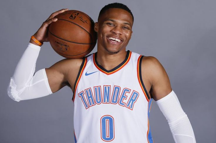 Oklahoma City Thunder guard Russell Westbrook is pictured during an NBA basketball media day in Oklahoma City, Monday, Sept. 25, 2017. (AP Photo/Sue Ogrocki)