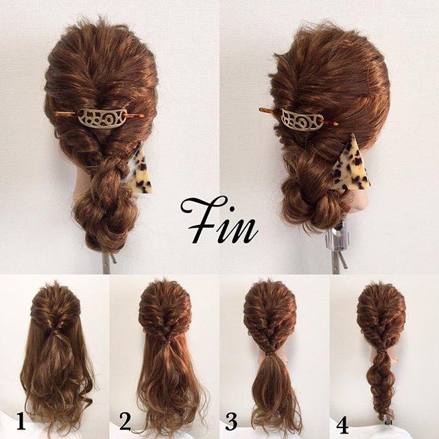 #mayahairno31 のスタイルの作り方 【アレンジのやり方】 ①はち上をクルリンパ ②はち下と①の毛をまとめてクルリンパ ③全ての毛をぼんのくぼ辺り結ぶ ④③で結んだ髪を三つ編みする Fin→④で三つ編みした髪を③で結んだ部分にくるっとゴムを隠すように回してバレッタで留めて完成💕 #簡単アレンジ#セルフアレンジ#波ウェーブ#クルリンパ#お洒落#アレンジ#お団子ヘアー#三つ編み#ヘアアレンジ#ヘアセット#髪型#ヘアスタイル#ヘアアクセ#マジェステ #三角バレッタ#シェリヘアデザイン#福岡#ママ美容師#beautiful#cute#love#girl#hairarrange#hair#hairset#Fashion#CHERIEhairdesign#salon#hairstyle