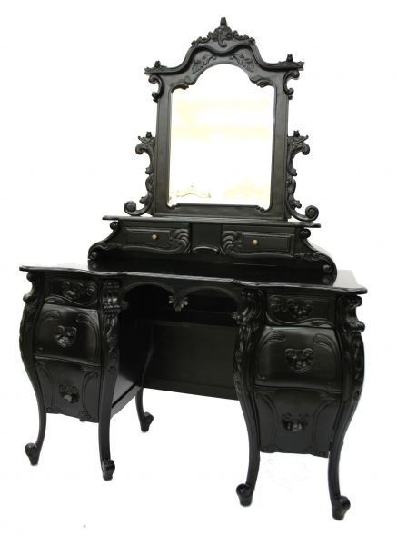 French Furniture Rococo Dressing Table U0026 Mirror Black In Antiques, Antique  Furniture, Dressing Tables