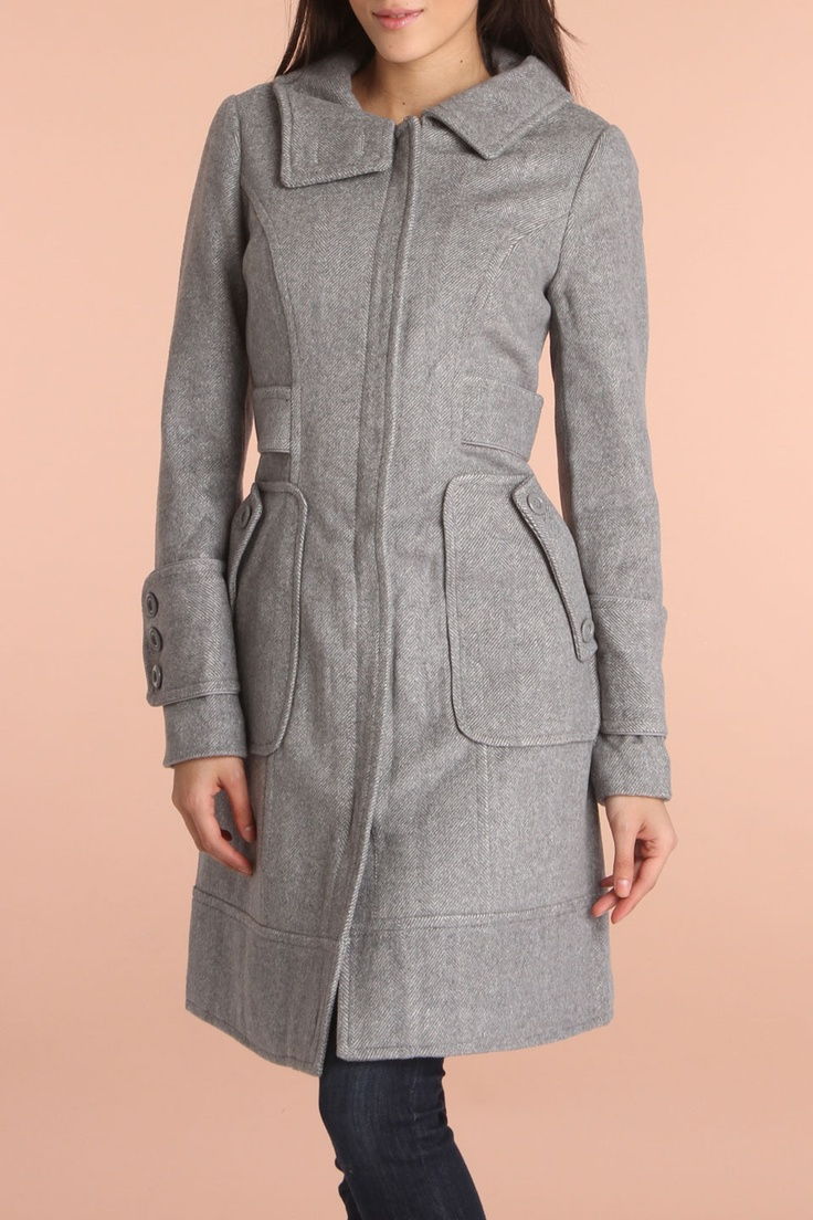 Pudding Jeans Coat With Front Zipper Closure In Gray