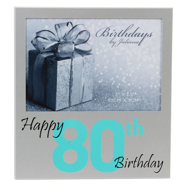 Silver Aluminium Photo Frame with Turquoise Numbers - 80th Birthday - Oswaldtwistle Mills