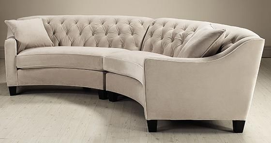 Riemann curved tufted sectional sofas and loveseats for Round couches for small living rooms