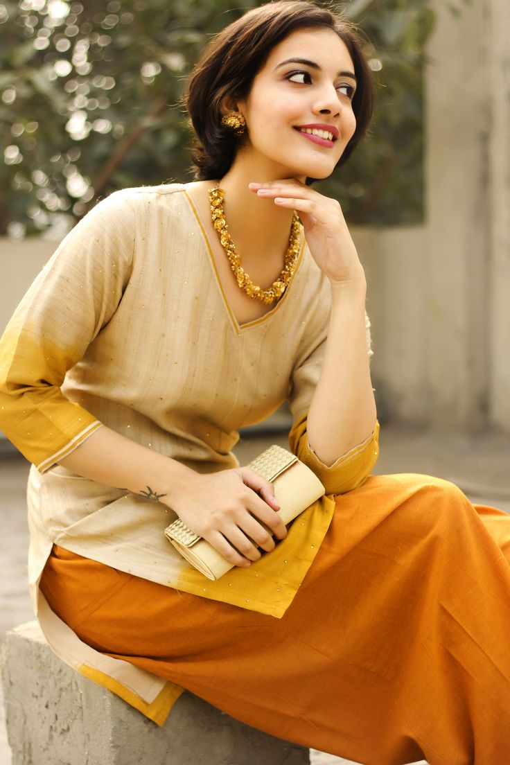 good day #sunshine! Brighten up the day with this #Silk Natural #Ombre Mini #Kurta paired up with a plain #salwar. Shop the look at www.fabindia.com
