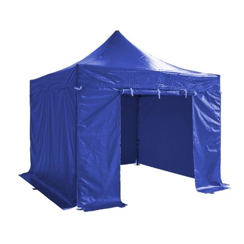 Folding Tent PRO Series 50mm Aluminium Structure + 4 Sides PVC 520g/m2 Tarpaulin 3x3m for Professional Needs or Daily Use Blue
