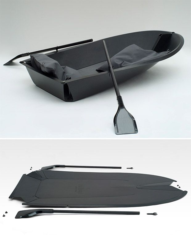 Fold Boat - this2-person rowboat is made by a single sheet of plastic that you fold up into an actual. floating vessel.