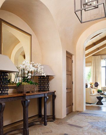 Entryway with arched alcoveDecor Ideas, Arches Stones Entry, Marbles Stones, Fantabul Foyers, Plaster Wall, Flagstone Floors, Vaulted Ceilings, Rustic Stones Floors, Stones Foyers