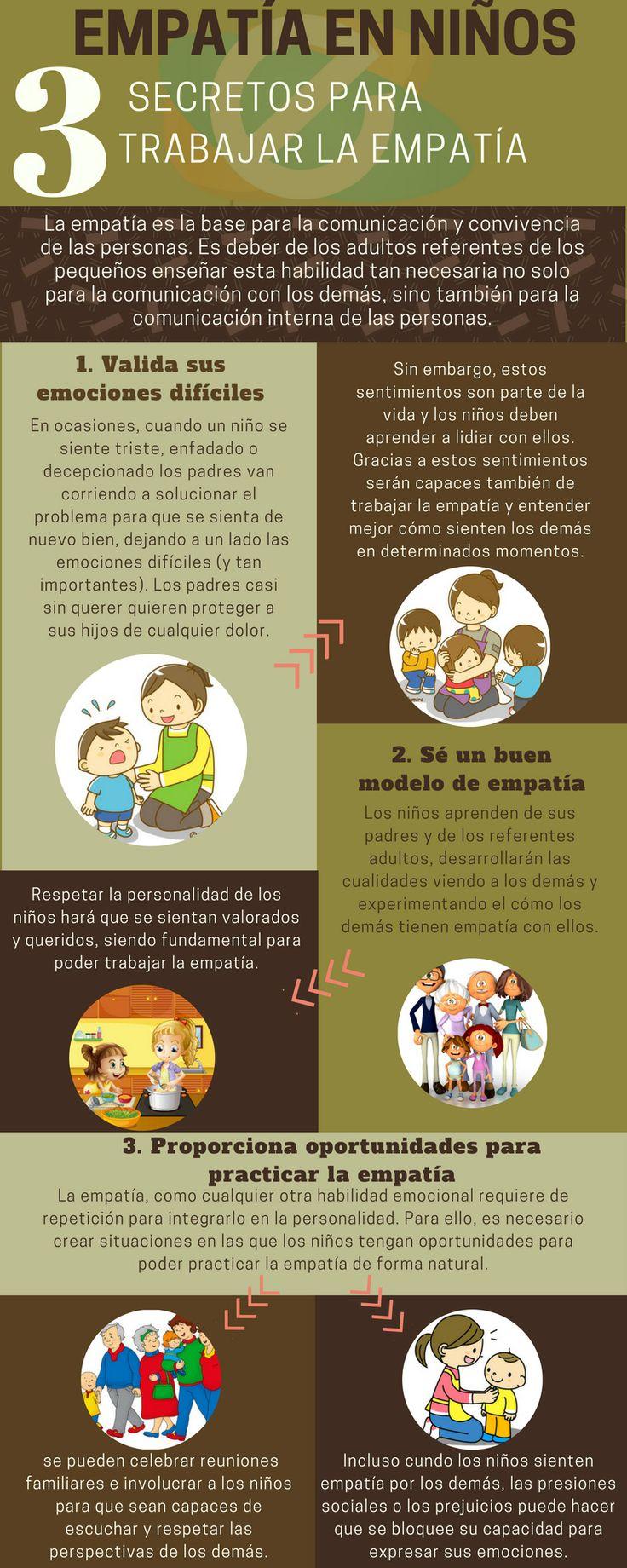 Infografía: 3 secretos para trabajar la empatía en los niños. ¿Qué es la empatía? Actividades para trabajar la empatía infantil