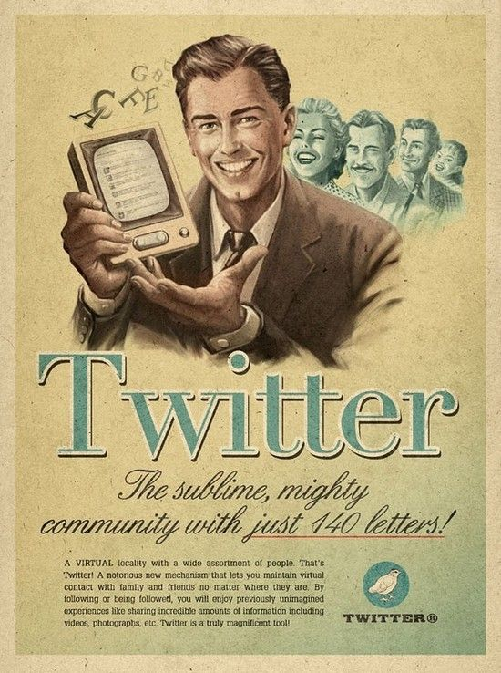 Retro ad campaigns for social networks.    Click through to see some great Mad Men era ads for Skype, Facebook and Youtube.: Social Media, Poster, Retro, Vintage Ads, Socialmedia, Twitter Vintage, Design