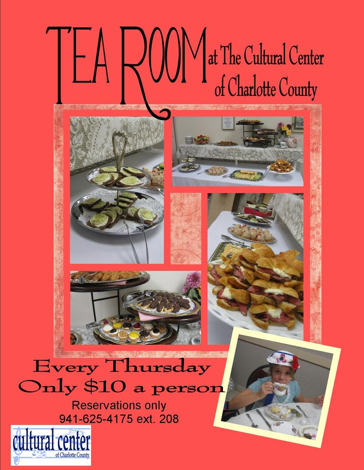 Tea Room for only 10 per person. Huge assortment of finger sandwiches and desserts, and medley of your favorite teas. Everyone is invited. Book now. Call the Cultural Center at 941-625-4175 ext. 208Tea Rooms, Teas Room, Huge Assorted, Finger Sandwiches, Culture Center, Favorite Teas, 941 625 4175 Ext, Cultural Center, Fingers Sandwiches