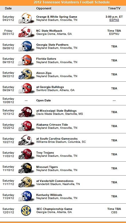 Tennessee Vols Football Team 2012 Schedule