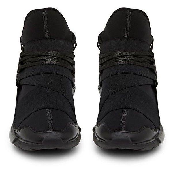 Y-3 Qasa Black High Top Sneaker (€405) ❤ liked on Polyvore featuring shoes, sneakers, black shoes, high top sneakers, black high tops, kohl shoes and black high top trainers