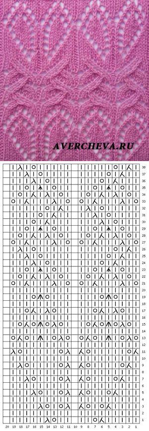 Узор 833 | каталог вязаных спицами узоров