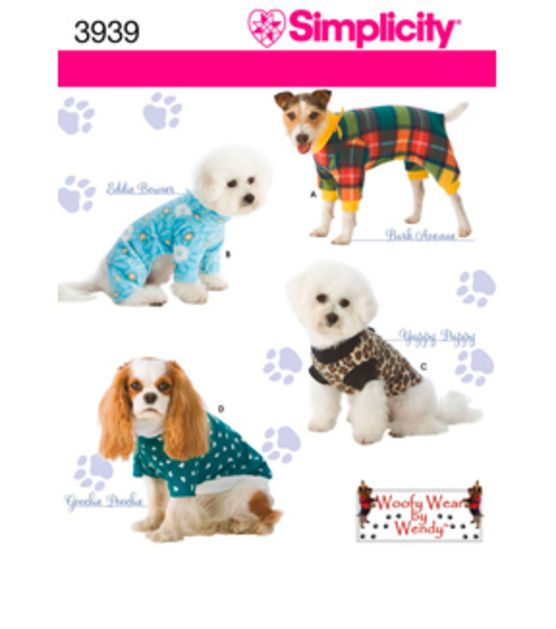 Simplicity Pattern 3939-Dog Clothes_In Three Sz-S,M,L
