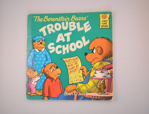 Berenstain Bears Old Book Cover : Vintage the berenstain bears trouble at school by