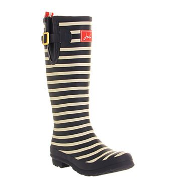 Joules Welly Print Navy Red Stripe - Knee Boots