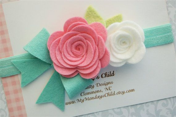 Felt Flower Headband in Pink and Mint - Felt Bow Headband - Flower Headband - Baby Headband, Toddler Headband, Girls Headband