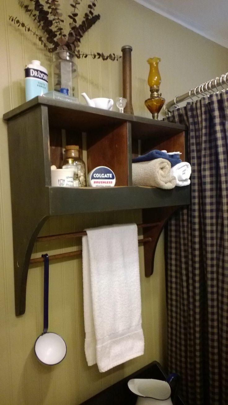 Primitive Bathroom Cubby Towel Rack Country Living