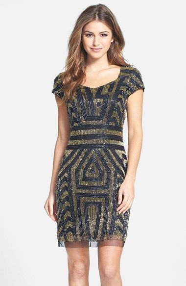 Adrianna Papell Beaded Mesh Sheath Dress at Nordstrom.com. Shimmering black and gold beads light up a head-turning cocktail dress shaped with a sculpted neckline and dainty cap sleeves.