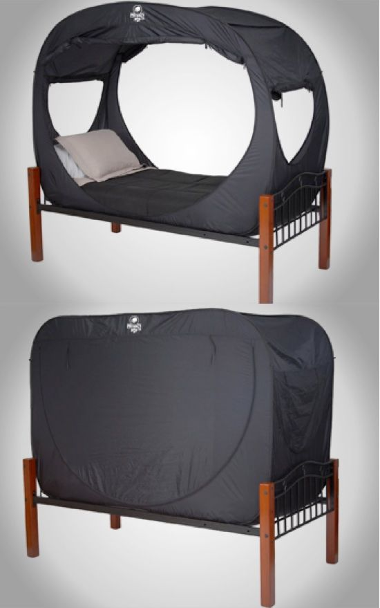 This is great for dorm room. Create a private space to sleep and relax in with the Privacy Pop Bed Tent. This pop up tent is a versatile choice that can be easily added and stored away.