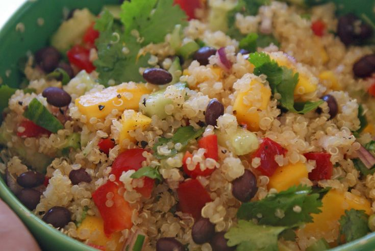 I just made this quinoa salad over the weekend and can't get enough of it.  SO EASY and is full of pure goodness.  Cook some quinoa and let it cool while making your dressing.  Dressing includes 1 part fresh squeezed lemon juice, one part EVOO, and a couple of cloves of fresh garlic, minced.  let dressing merry in fridge.  Add chopped red pepper, green onion, can of black beans, and whatever else tickles your fancy!