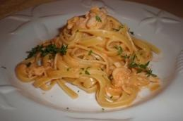 Fettuccine with Lobster Cream Sauce. Can make this with shrimp or scallops also.
