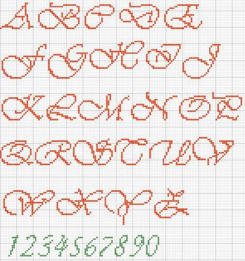 Schemi punto croce di alfabeti e iniziali | Alfabeto Vivaldi maiuscolo | Foto