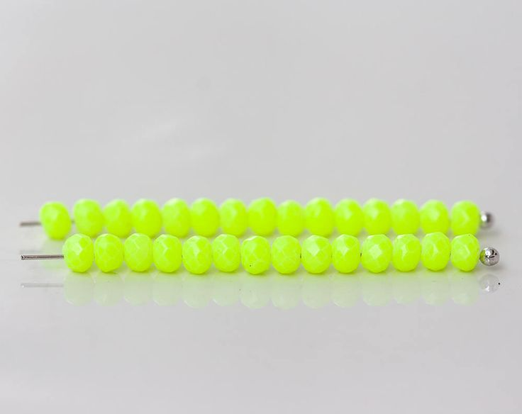 2590_Green neon beads 4x3 mm, Faceted roundels crystals, Light green beads, Rondelle glass beads, Сrystals beads Jewelry crystal bead_145pcs by PurrrMurrr on Etsy